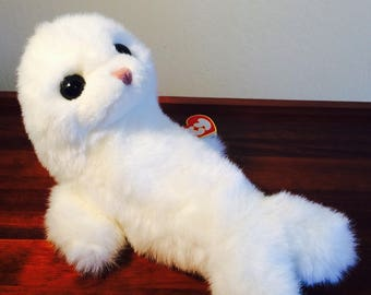 Beanie Buddy, Ty Misty, White Seal 1997, Sea Life Aquatic Ty Seal Pup Easter Basket Toy