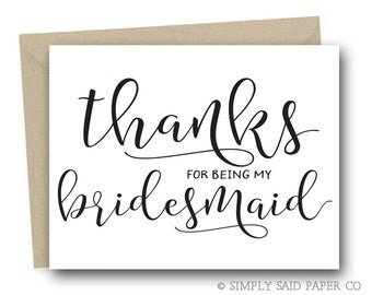 Bridal Party Thank you card - Thank you cards, thank you for being my bridesmaid, bridesmaid thank you card, thank you notes