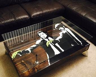 """Banksy """"Pulp Fiction"""" Coffee Table with Glass top"""
