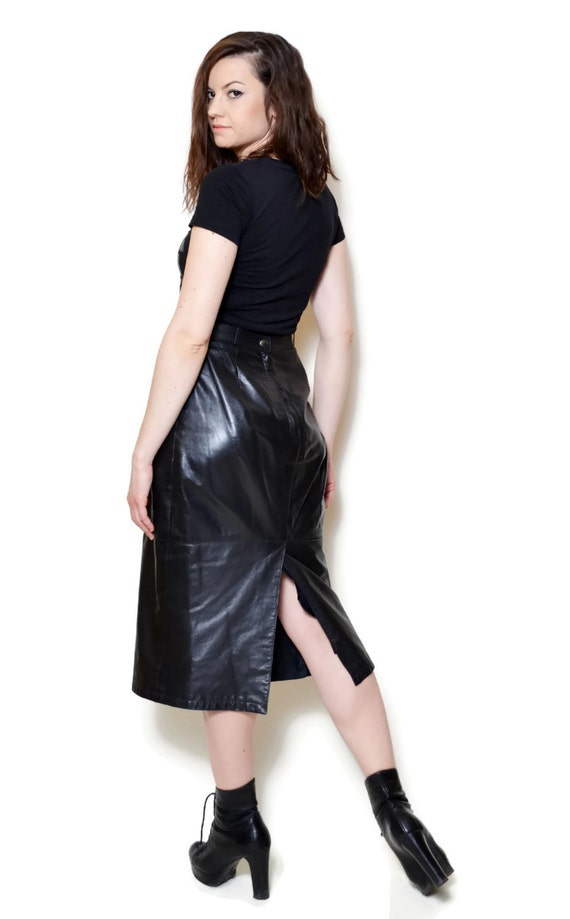 leather skirt 90s midi skirt s clothing by