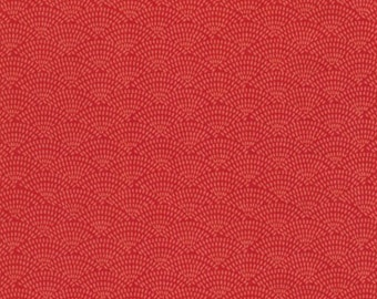 Dash Scallop Fabric - Coral - sold by the 1/2 yard
