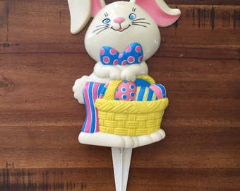 Vintage Easter Bunny Lawn Stake/ Measures: 13 Inches Tall