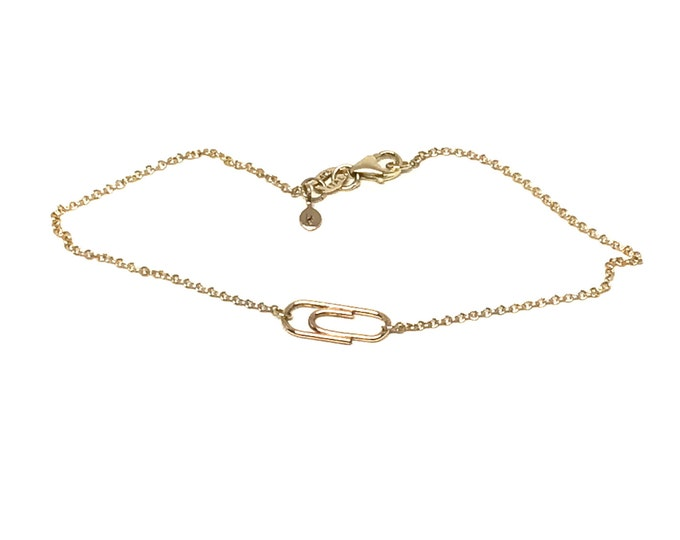Solid 14 Karat Yellow Gold Mini Paperclip Charm Bracelet