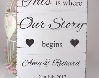 Personalised This Is Our Love Story - Custom White Wedding Table Sign / Plaque - Shabby but Chic -Aged - Handmade