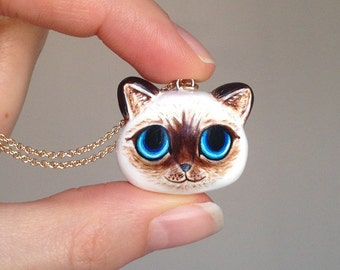 Birman Cat Necklace, Birman Cat, Polymer Clay Birman Cat, minimio Necklace, Handmade, OOAK, Gift Idea