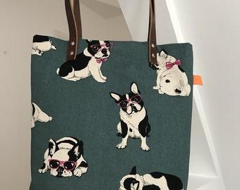 A superb teal/green  bulldog tote bag