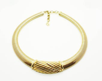 Christian Dior Vintage Gold Snake Chain Choker Signed Authentic Original Box