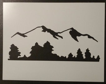 Mountains Mountain Trees Tree Line Custom Stencil FAST FREE SHIPPING