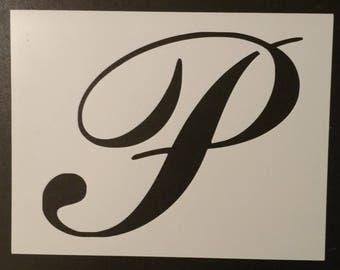 Large Big Script Cursive Letter P Custom Stencil FAST FREE SHIPPING
