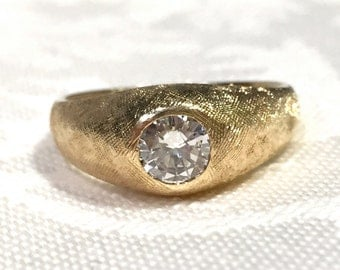 14K Gold Diamond Rings, Yellow Gold Gypsy Style Diamond Ring, Ladies/Mens Vintage Diamond Ring, Engagement Ring