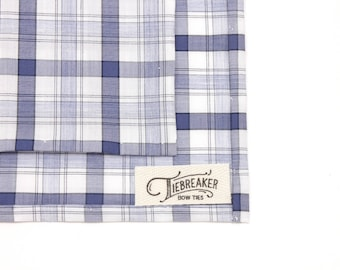 Blue and White Plaid Pocket Square - Hand-Rolled Pocket Square - Mens Plaid Handkerchief - Womens Handsewn Pocket Square - Gifts for Him