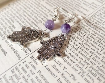 Amethyst or Labradorite Hamsa earrings for purity and clarity