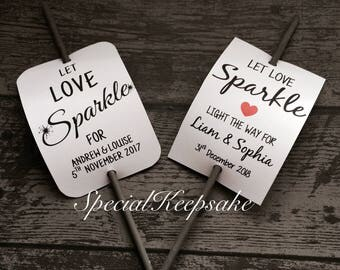Personalised Let Love Sparkle Wedding Day Night Reception Sparklers Unique Wedding Favour Bride Groom Mr & Mrs