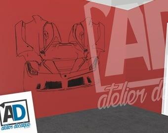 Wall sticker R-025 car LA ferrari trait only