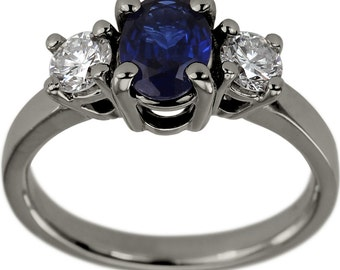 Sapphire Engagement Ring Oval Shaped Blue Sapphire Engagement Ring 14K Gold