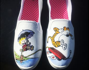 Calvin & Hobbes Inspired Painted Canvas Shoes