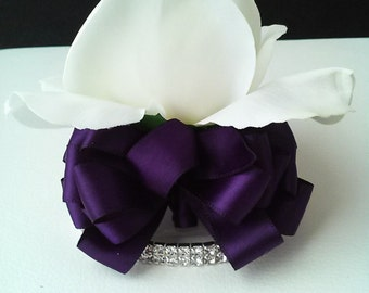 White and Plum Wrist Corsage-White Rose Corsage-Real Touch Corsage-Prom Corsage-Homecoming Corsage