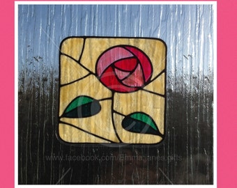 Rose Square in pink window cling, Mackintosh style reusable faux stained glass effect decal, static cling suncatcher decals