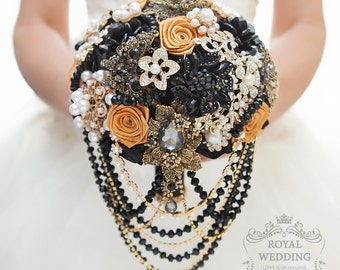 Bridal Bouquet Black Brooch Bouquet Bridesmaids Bouquet Wedding Bouquet Black Gold Bouquet Broach Bouquet Rhinestone Bouquet Jewelry Bouquet