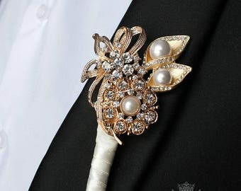 Wedding Boutonniere Groom Boutonniere Ivory Boutonniere Gold Boutonniere Jewelry Boutonniere Wedding Package Gold Wedding Grooms Pin