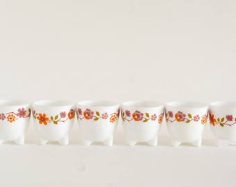 Set of six Arcopol Egg Cups with Orange and Purple Floral Design
