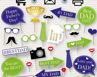 Father's Day Printable Photo Booth Props - Father's Day Photo booth Props - Father's Day Printable - Father's Day Party - Dad Party - DIY