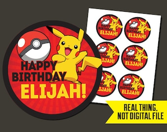 Pokemon Stickers - Pokemon Birthday Stickers- Pikachu Stickers