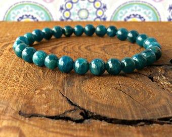 6mm Blue Apatite Bracelet, A Grade, Healing Crystals, Yoga Mala Beads, Chakra Jewelry, Brain Tonic & Weight Loss-Authenticity-Motivation