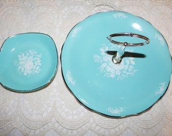 Vintage Royal Winton Single Turquoise Cake Stand with Matching Candy Dish White Embossed Flowers Platinum Trim