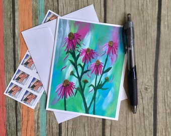 Coneflower Card - Flower Note Card - Blank Note Card with Envelope - Floral Card - Card Handmade - Stationery - Custom Note Card -Mini Art