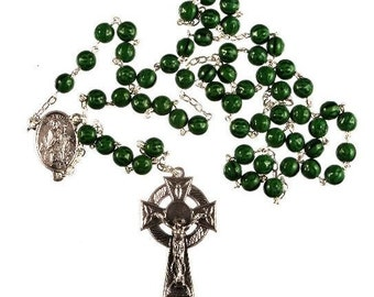 Saint Patrick Rosary Beads. Green Irish Rosary Beads. Hand made Rosary Beads. Celtic Cross Crucifix. Strong Rosary. St Patrick's Day Gift