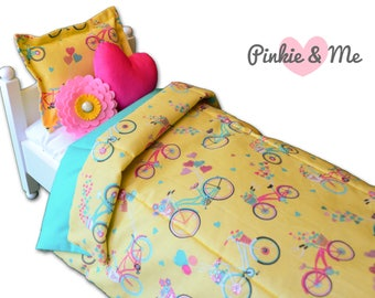 "18"" Doll Bedding 4 Piece Set ~ Bicycle, Flower And Hearts"