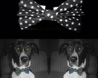 Stars Dog Bow Tie - Black
