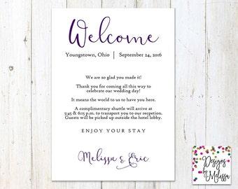 Hotel Welcome Card - Wedding Welcome - Wedding Guest Card - Welcome Card for Wedding Guests - Guest Info Card - Welcome Card - DIGITAL FILE