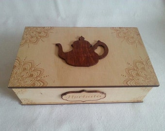Tea box, wooden box for tea with engraving