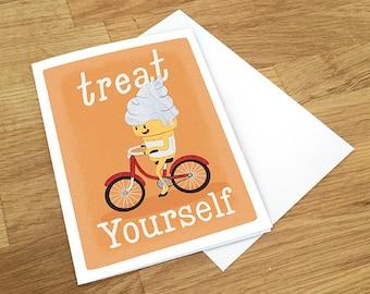 Treat Yourself Greeting Card, Ice Cream Card, Funny Card, Congrats Card, Birthday Card, Congratulations Card, Blank Card