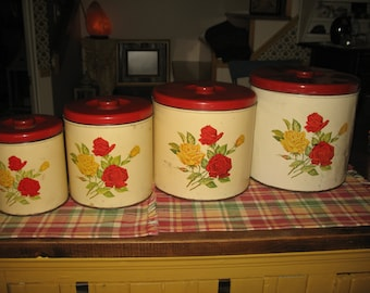 Set of 4 boxes of pink floral kitchen red and yellow. Flour, sugar, tea.