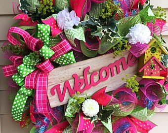 Deco Mesh Wreath, Spring Wreath, Birdhouse Wreath, Spring Deco Mesh Wreath, Door Wreath, Pink Wreath, Home Decor, Welcome Wreath