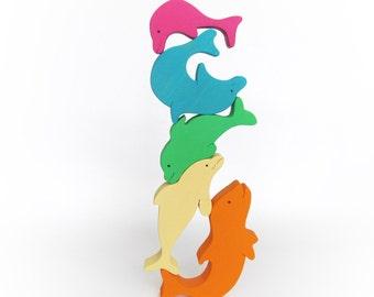 Gift for baby, Wooden Balancing Game, Rainbow stacking game, Balancer Game, Montessori, Handmade, Waldorf, Wooden Animal Game, Dolphin Toy