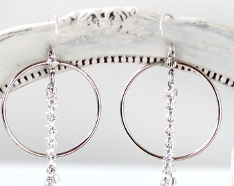 Statement Earrings for Her -Large Hoop Earrings - Romantic Dangle Earrings - Hoop Earrings for Her - Girlfriend Earrings Gift - Silver Hoops