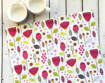 Modern florals Rose tea towel in pinks on cotton