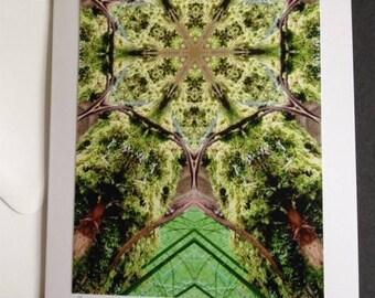 Forest Mandala Large Greetings Card