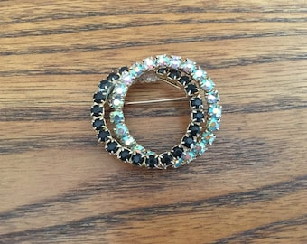 Vintage Black and Clear AB Rhinestone Double Circle Brooch 1014