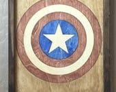 Captain America Wooden Inlay Wall Art