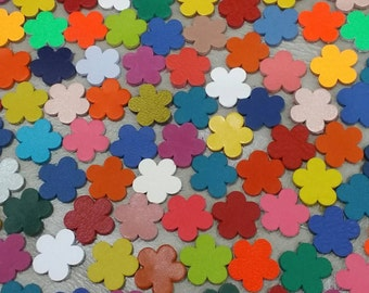 Leather Flowers, 50 pcs. 4 sizes 16mm. 20mm.  25mm. 30mm., Mixed Colors, Leather Flowers Die Cut, Flowers Decoration, DIY Projects.