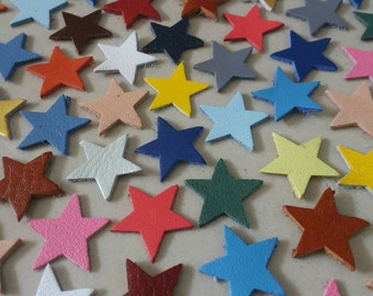 Leather Stars, 15 mm. 20 mm., 25 mm., Mixed Colors, Leather Stars Die Cut, Stars, Stars  Decoration, DIY Projects.