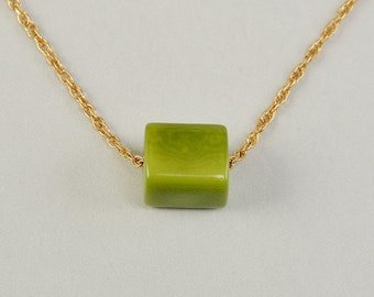Greeen tagua necklace, free shipping choker, gold short chain, minimal pendant, cube jewelry, geometric necklace, delicate jewelry