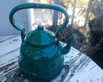 Vintage Enamel Tea Kettle, Green Enamel teapot from Yugoslavia