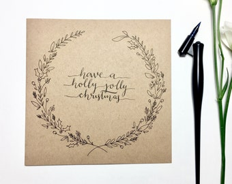 Hand drawn Holly Jolly Christmas card, wreath, typography