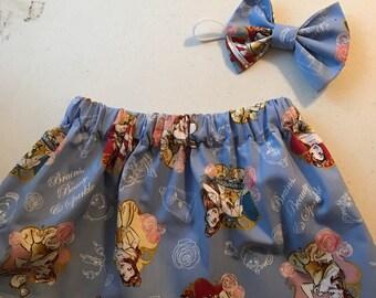 Beauty and the Beast skirt set , princess skirt , princess skirt set